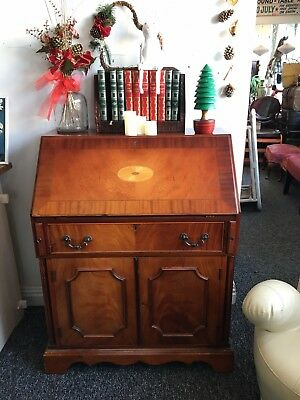 Lovely Reproduction Mahogany And Rosewood Inlaid Bureau Antique Vintage
