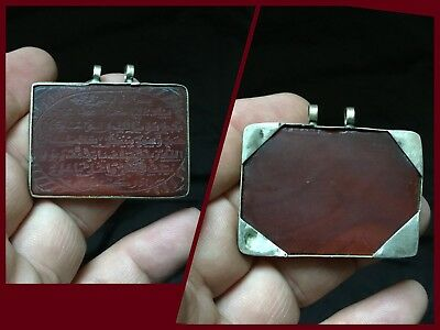 Old Islamic Post Medieval Silver Pendant With Carnelian Insert