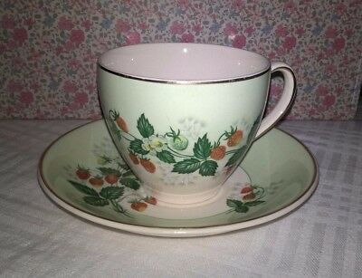 Johnson Bros Vintage China Tea Cup & Saucer - Strawberry Design - Christmas Gift