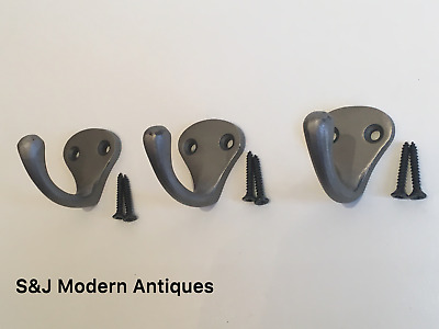 Single Coat Hook Iron Antique Modern Classic Vintage Black Grey Hat Rack Set 3