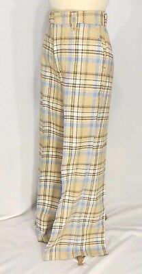 Vintage 70s Bobbie Brook Plaid Bell Bottom Pants Slacks Dead Stock sz 16