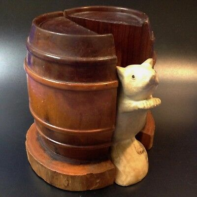 Mulga Wood Barrel Bookends - Carved Solely From One Piece -No Joins, Rings Match