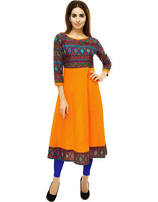 Printed Anarkali Cotton Kurta Indian Pakistani Long Kurti Dress Women Top Tunic