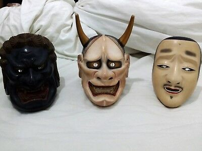 3 set of Japanese Handcraft Wooden Theater Noh masks Fudoh, Hannya and Chujo