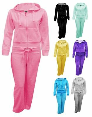 Kids Girls Hooded Size Pocket Jogging Sweatpants Zip Velour Plus Tracksuit