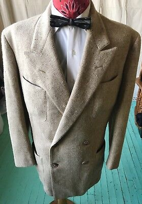 Vintage 1950's 50s Atomic Fleck Tweed Hand Tailored Rockabilly Hollywood Suit 42