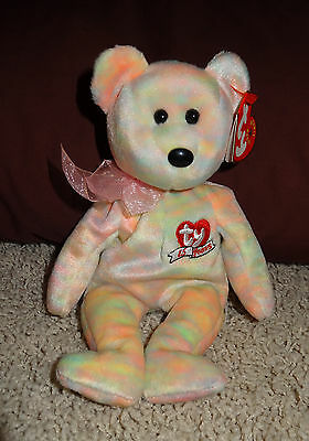 TY Beanie Baby Celebrate 15 Years Multi Tie Dye Plush Bear PE Pellets 2001 - TH