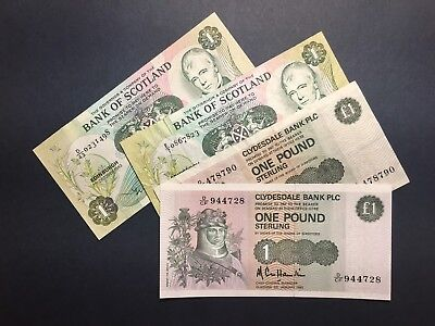 LOT BANK OF SCOTLAND, Clydesdale Bank: 1 POUND: Four VF, XF, aUNC Banknotes