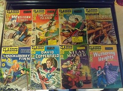CLASSICS  ILLUSTRATED COMIC LOT OF 14 mid- low grade  19-161 MANY 1ST EDITIONS