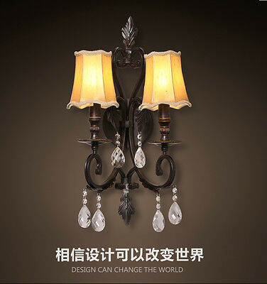 Vintage Double Wall Mount E14 Light Fixture Antiqued Iron Crystal Pendant Sconce