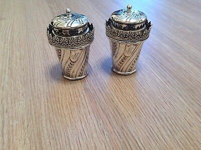 antique solid silver pepper shakers