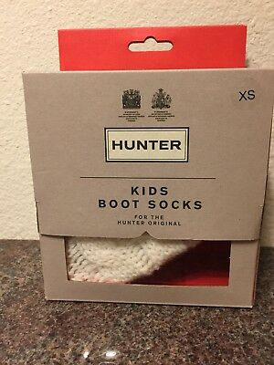 Hunter Cable Knit Cuff Welly Boot Socks Natural White Little Kids XS