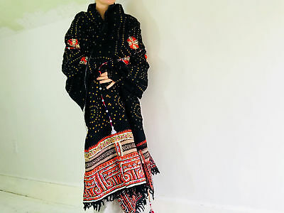 Vintage Rabari Wool Shawl And Throw. Embroidered, Mirrorwork