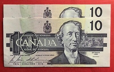1989 $10 Bank of Canada BEF Changeover Prefix - 109.95 Ch UNC - 2 Consecutive!