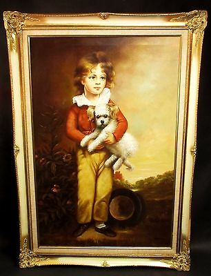 Vtg Portrait 19th Century Boy With Puppy Frederick W Richardson Oil Painting 42""