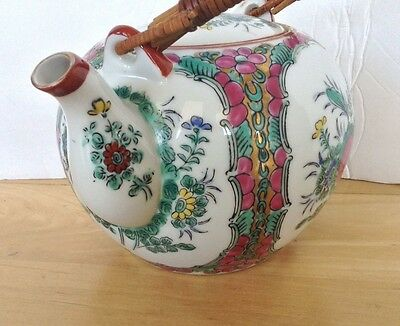 Hand Painted Chinese Famille Rose Medallion Porcelain Teapot