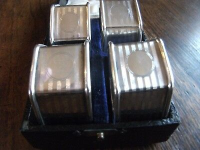 Silver Plated Napkin Rings Set Of Four In Leather Box