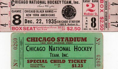 2 Chicago Blackhawks Ice Hockey Tickets V New York Americans 22/12/1935