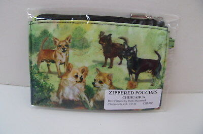 New Zippered Pouch Make-Up/Change Purse Decorated W/Five Chihuahua Dogs(CHI-MP)
