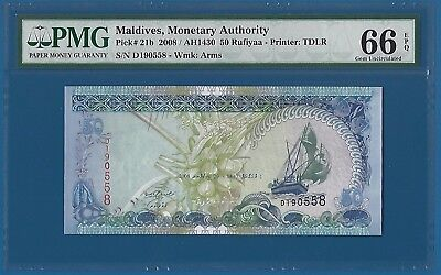 Maldives 50 Rufiyaa P 21b 2008 PMG 66 EPQ Gem Uncirculated UNC