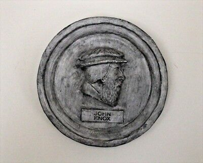 """Vintage Style Cast Wall Plaque  - JOHN KNOX - Reproduction - 7.7"""" W"""