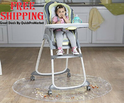 High Chair Floor Mat Baby Feeding Protector Carpet Rug Clear Kid Child 50'' New