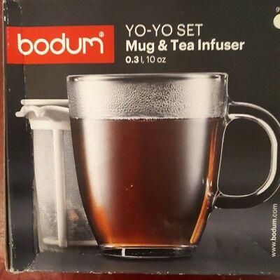 BODUM Go-to set glass Mug and Tea  Infuser. 300ml size.New in box