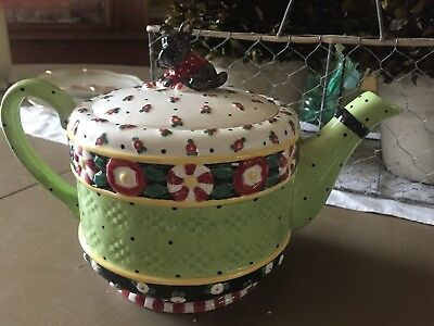 Nib Mary Engelbreit A Christmas Wish Teapot Tea Pot Scotty Dog 75720 Htf Retired