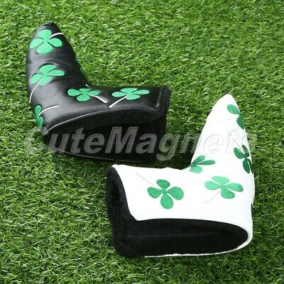 Durable White/Black Golf Putter Head Cover Four Leaf Clover Headcover Protector