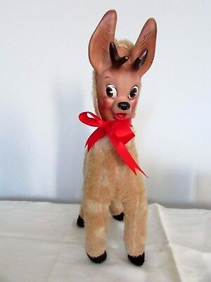 Vintage Christmas Columbia Toys 1959 Santa Reindeer Doll With Rubber Face