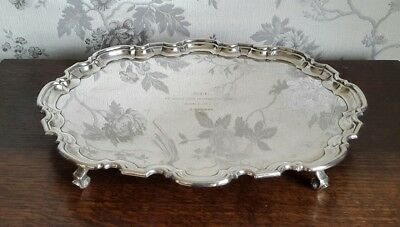 An Antique Silver Plated Footed Tray, Scalloped Rim by Atkin Brothers
