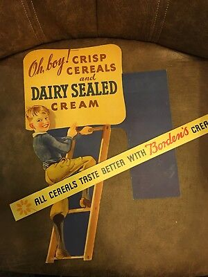 ORIGINAL 1930-40's Borden's Dairy Cereal 2-sided in store sign