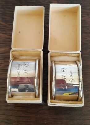 A Boxed Pair of Solid Silver Napkin Rings, London 1921