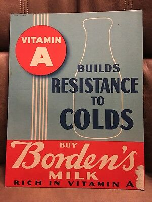 ORIGINAL 1930-40's Borden's In Store Sign Resistance to Colds