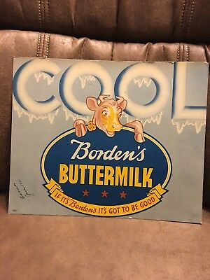 "ORIGINAL 1930-40's Borden's In store sign poster ELSIE ""COOL BUTTERMILK """