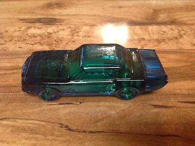 AVON Vintage 64 Ford Mustang Blue Glass Decanter Car - Never Opened - No Box