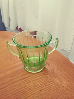 Vintage Green Depression Glass Sugar Cup-Excellent