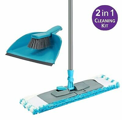 2 in 1 Dustpan & Brush Set and Flat Microfibre mop with Extendable handle broom