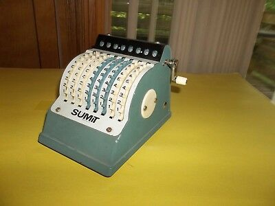 Antique Desk Top Sumit Adding Machine Manual Calculator Pearl Engraving Corp Usa