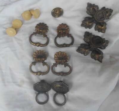 Antique and Vintage Brass and Plastic Cabinet /Drawer Pulls