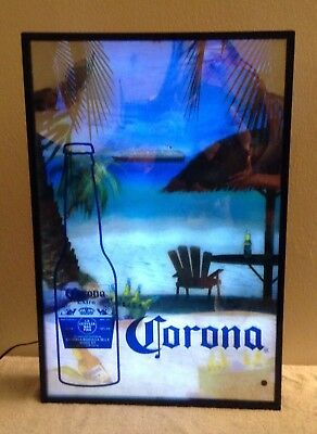 CORONA EXTRA Lighted Audible Sign Beach Scene Ocean Sounds Working Good Cond