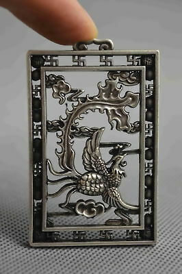 Chinese Collectable Handwork Miao Silver Carve Exorcism Phoenix Lucky Pendant
