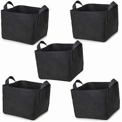 Various Sizes - (5 Pack) Square Fabric Pots Grow Bags w/Handles Vegetable Tomato