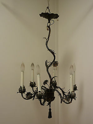 Vintage Wrought Iron Floral Chandelier Possibly Roycroft