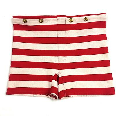 Vtg 60s Womens Swim Bottoms Size 28-38 Striped Mini Trunks Nylon Nautical Union