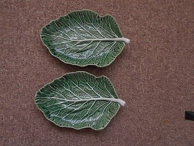 Two vintage green cabbage leaf serving dishes 25 x 16.5 cm