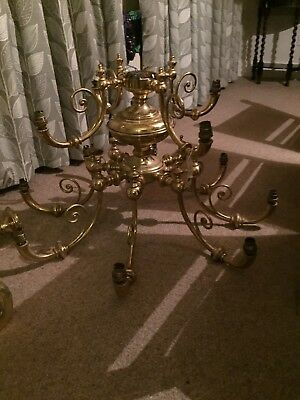 Two tier, 12 arm brass chandalier