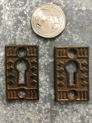 Pair of Vintage Ornate Victorian cast iron key hole escutcheons covers
