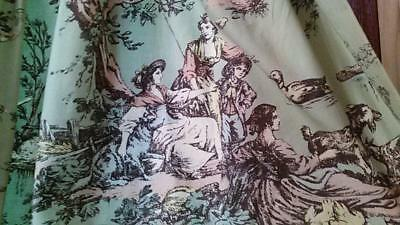 """Set 4 Panels Vintage French Toile Curtains Lined Very nice condition 48"""" x 79"""""""