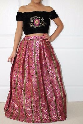 Bollywood Indian Asian kids girls Pink and Black Lahenga Skirt top Age 9-10